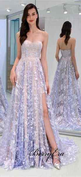 Strapless A-line Lace Prom Dresses, Elegant Long Prom Dresses