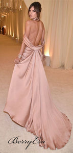 Sexy Side Slit Gown, Elastic Satin Prom Dresses, Long Prom Dresses, Popular Prom Dresses