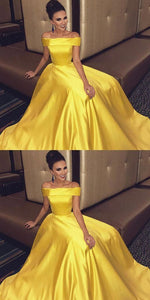 Off Shoulder Long A-line Yellow Satin Prom Dresses, Popular Prom Dresses, Prom Dresses
