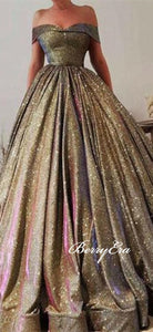 Off Shoulder Colorful Jersey Long A-line Prom Dresses, Ball Gown Prom Dresses, 2020 Prom Dresses
