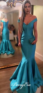 Off Shoulder Mermaid Blue Satin Prom Dresses, Long Prom Dresses, Cheap Prom Dresses