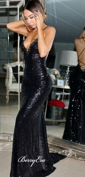 Black Sequin Mermaid Prom Dresses, Sexy Long Prom Dresses, Affordable Prom Dresses