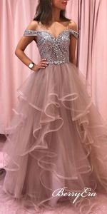 Off Shoulder Rhinestone Beaded Long A-line Prom Dresses, Tulle Prom Dresses, Popular Prom Dresses