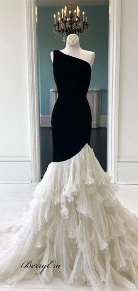 One Shoulder Black Jersey Top Ivory Chiffon Prom Dresses Cheap Prom Dresses