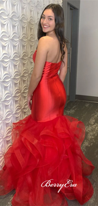 Sweetheart Long Mermaid Red Satin Tulle Prom Dresses, Sweetheart Long Prom Dresses, 2020 Prom Dresses