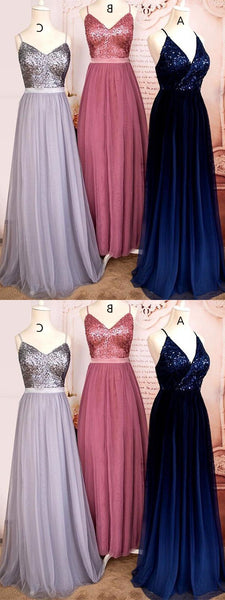 Spaghetti Long A-line Sequin Top Prom/Bridesmaid Dresses, Long Prom Dresses
