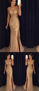 Sparkle Sexy Side Slit Long Mermaid Gold Rhinestone Prom Dresses