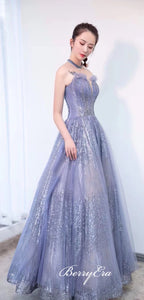 Spaghetti Long A-line Sequin Tulle Prom Dresses, Newest Design Prom Dresses, Sparkle Prom Dresses