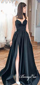 Simple A-line Black Satin Long Prom Dresses, Side Slit Prom Dresses, Elegant Prom Dresses
