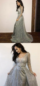Long Sleeves Silver Sequin Tulle Prom Dresses, Sparkle Prom Dresses