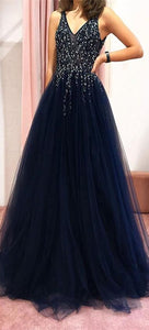 V-neck Long A-line Navy Beaded Tulle Prom Dresses, Popular Prom Dresses, Prom Dresses
