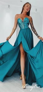 Sweetheart Long Prom Dresses, Sequin Top Side Slit Long Prom Dresses, Prom Dresses