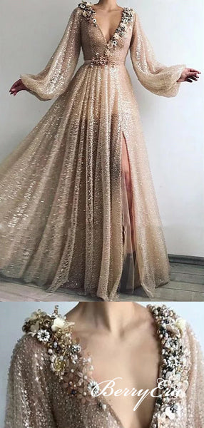 V-neck Long Sleeves Sequin Tulle Shiny Prom Dresses, Long Prom Dresses, Popular Prom Dresses