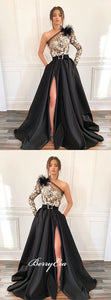 One Shoulder Lace Satin Prom Dresses, Long Prom Dresses, Side Slit Prom Dresses