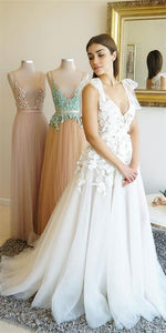 V-neck Long A-line Lace Tulle Prom Dresses