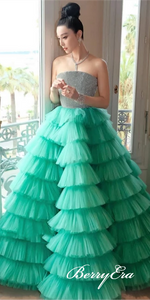 Strapless Long A-line Green Tulle Fluffy Beaded Prom Dresses, Ball Gown, Long Prom Dresses