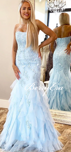 Strapless Long Mermaid Light Blue Lace Tulle Prom Dresses, Long Prom Dresses, Mermaid Prom Dresses, 2020 Prom Dresses