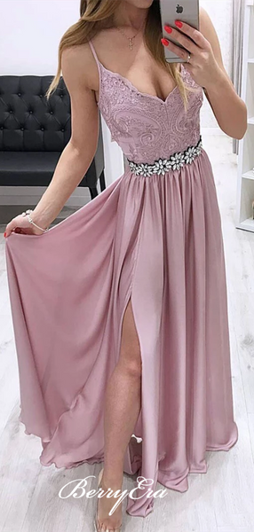 Spaghetti Long Prom Dresses, Lace Elastic Satin Prom Dresses, Dusty Rose Prom Dresses