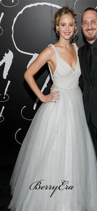 Jennifer Lawrence Off White Tulle A-line Long Prom Dresses