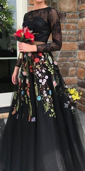 2 Pieces Black Lace Top Floral Tulle Prom Dresses, Newest Prom Dresses