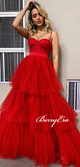 Spaghetti Long A-line Red Tulle Prom Dresses, Layers Long Prom Dresses, 2020 Prom Dresses