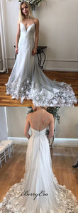 Spaghetti Long A-line 3D Flowers Tulle Prom Dresses, Bridal Gown, Wedding Dresses