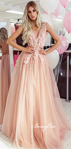 V-neck Long A-line Blush Tulle Lace Prom Dresses, Long Prom Dresses, 2020 Prom Dresses, Lace Prom Dresses