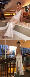 Sexy Simple Long Prom Dresses, Side Slit Nude Prom Dresses