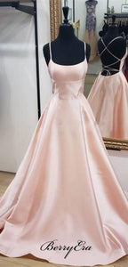 Long A-line Pink Satin Prom Dresses, Affordable Prom Dresses, Newest Prom Dresses