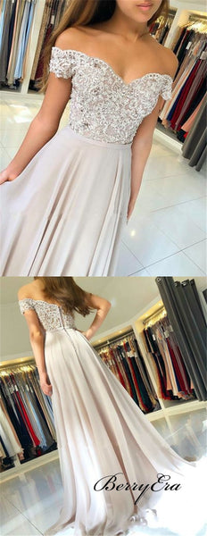 Off Shoulder Grey Lace Beaded Prom Dresses, Long Prom Dresses