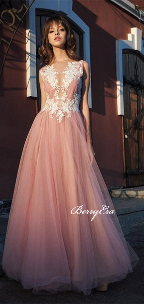 Pink Tulle A-line Lace Appliques Prom Dresses, Long Prom Dresses, Elegant Long Prom Dresses