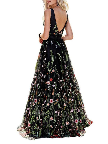 Special Floral Long A-line Tulle Prom Dresses