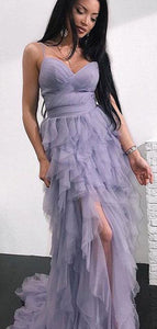 Unique Spaghetti Hi-low Dusty Purple Tulle Prom Dresses