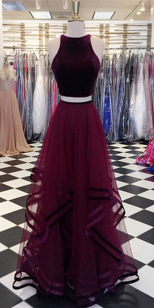 2 Pieces Velvet Top A-line Tulle Skirt Long Prom Dresses