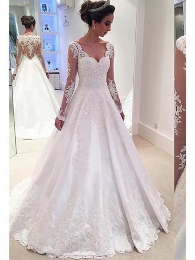 Long Sleeves A-line Lace Satin Wedding Dresses