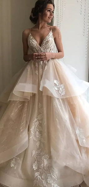 Spaghetti Long A-line Lace Tulle Wedding Dresses, Bridal Gown