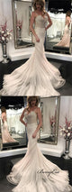 Spaghetti Long Mermaid Lace Tulle Backless Wedding Dresses