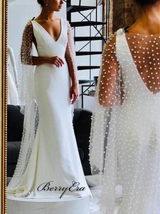 Elegant Long Mermaid Fitted Long Wedding Dresses With Pearl Cloak