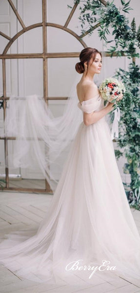 White Long Tulle Wedding Dresses, Off Shoulder Long Wedding Dresses, A-line Simple Wedding Dresses
