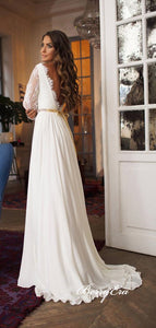Long Sleeves Lace Top Chiffon A-line Ivory Wedding Dresses
