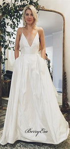 Spaghetti Long A-line Ivory Satin Wedding Dresses