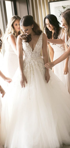 V-neck Lace Beaded Wedding Dresses, A-line Tulle Wedding Dresses, Wedding Dresses