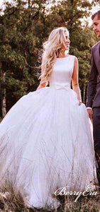 Lovely Sleeveless A-line Satin Top Tulle Wedding Dresses