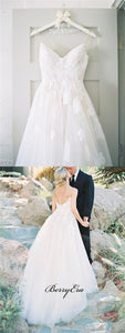 Spaghetti Long A-line Ivory Lace Tulle Wedding Dresses