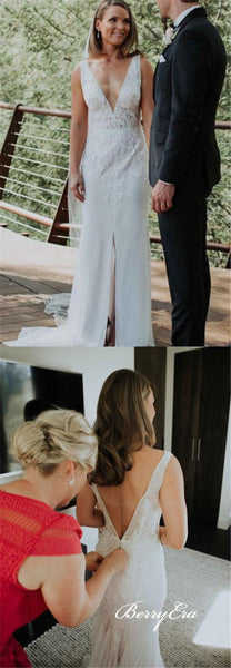 V-neck Front Slit Lace Sheath Long Wedding Dresses