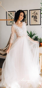 V-neck Lace Top A-line Tulle Wedding Dresses, Country Wedding Dresses, Long Bridal Gown