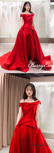 Off Shoulder Special Deisgn Satin Long Wedding Dresses