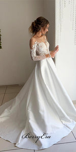 Illusion Long Sleeves Lace Top A-line Satin Wedding Dresses, Bridal Gown