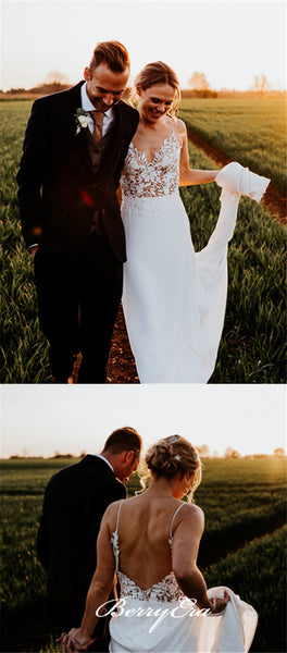Spaghetti Long Sheath Lace Top Jersey Country Wedding Dresses With Veil