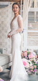 V-neck Long Sleeves Lace Tulle Wedding Dresses, Ivory Mermaid Wedding Dresses, Wedding Dresses